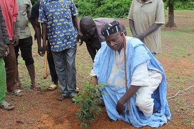 Plantation d'arbres au profit des structures religieuses et coutumières du village de Guiri-guiri.